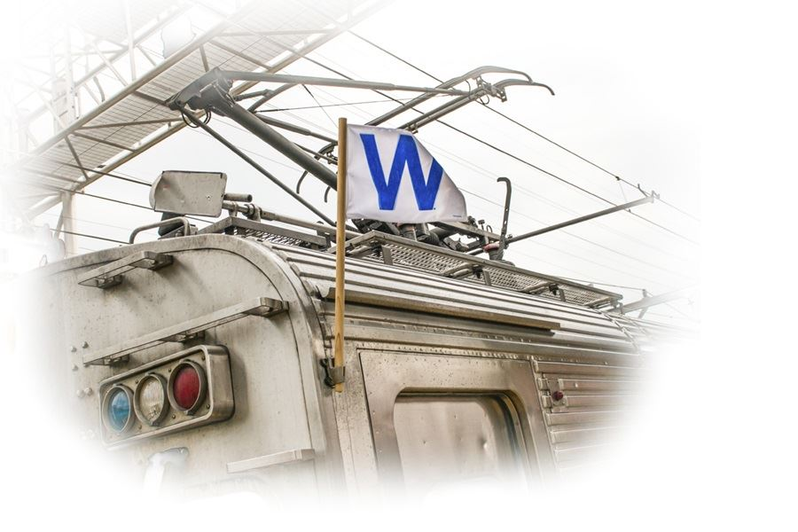 "South Shore Line with Cubs ""W"" Flag"